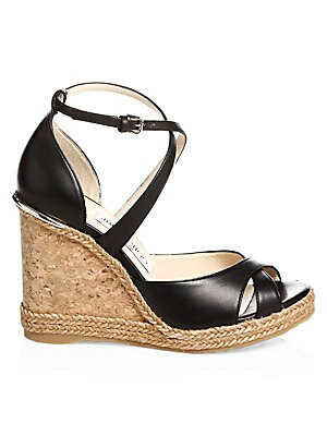 5ffe09afc145 Jimmy Choo - Alanah Leather Wedge Sandals - saks.com