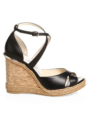 Alanah Leather Wedge Sandals by Jimmy Choo