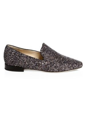Jaida Flat Twilight Glitzy Glitter Fabric Square Toe Slippers in Black