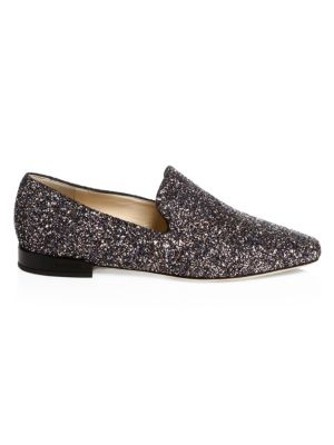 Jaida Flat Twilight Glitzy Glitter Fabric Square Toe Slippers