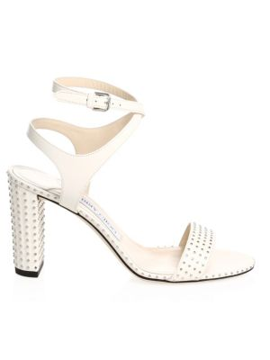 Women'S Marine 85 Micro-Studded Leather High-Heel Sandals, Chalk