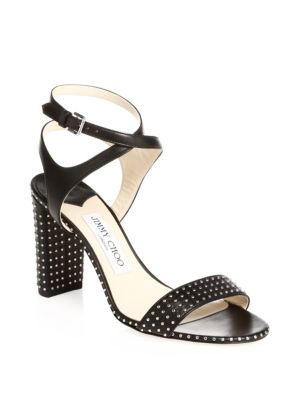 Marine 65 Black Nappa Leather Sandals With Silver Micro Studs