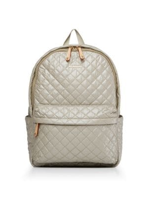 MZ WALLACE Small Metro Backpack - Beige in Light Beige/Gold