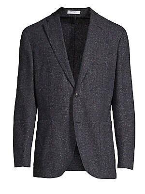 """Image of From the Saks IT LIST THE JACKET The wear everywhere layer that instantly dresses you up. Fine Donegal tweed lends luxe feel to classic-cut jacket Notch lapels Long sleeves Button front Waist patch pockets Regular fit Cupro-viscose lining About 30"""" from s"""
