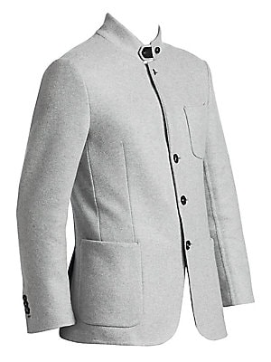 """Image of Luxe cashmere design boasts layered look with hoodie and jacket all in one sporty aesthetic. Attached hood Long sleeves Button front jacket Waist patch pockets on jacket Cashmere Machine wash Made in Italy SIZE & FIT About 33"""" from shoulder to hem. Men Lu"""