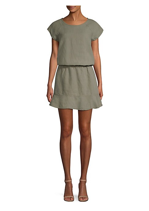 """Image of Easy linen dress with elasticized waist and gentle ruffle hemline. Scoopneck. Cap sleeves. Elasticized waist. Back keyhole button closure. About 36"""" from shoulder to hem. Linen. Dry clean. Imported. Model shown is 5'10"""" (177cm) wearing US size Small."""