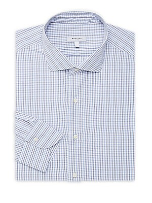 """Image of Comfortable polo with contrasting pinstripe Spread collar Long sleeves Buttoned barrel cuffs Button front Classic-fit About 30"""" from shoulder to hem Cotton Machine wash Made in Italy. Men Luxury Coll - Contemp Classic Collecti. Boglioli. Color: White Blue"""