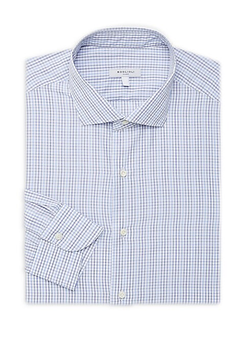 """Image of Comfortable polo with contrasting pinstripe. Spread collar. Long sleeves. Buttoned barrel cuffs. Button front. Classic-fit. About 30"""" from shoulder to hem. Cotton. Machine wash. Made in Italy."""