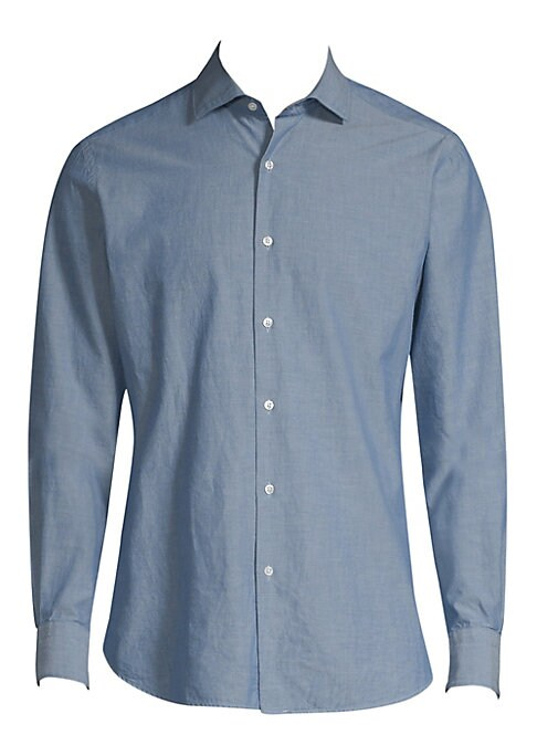 "Image of Slim-fitting wardrobe essential in a light chambray weave. Spread collar. Long sleeves. Buttoned barrel cuffs. Button front. About 29"" from shoulder to hem. Cotton. Machine wash. Made in Italy."