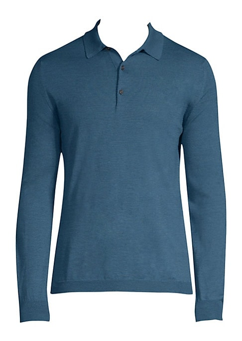 """Image of Comfortable polo tailored from pure cotton fabric. Polo collar. Long sleeves. Ribbed cuff and hem. Three-button placket. About 28"""" from shoulder to hem. Cotton. Machine wash. Made in Italy."""