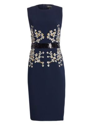 AHLUWALIA Patrizia Embroidered Shift Dress in Midnight
