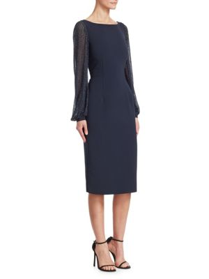 AHLUWALIA Tove Embroidered-Sleeve Dress in Midnight