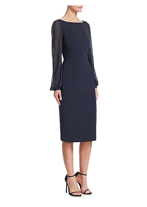Image of Cut from lustrous silk, this femininely tailored gown features romantic blouson sleeves with metallic flecks throughout. Boatneck. Long blouson sleeves. Concealed back zip closure. Lined. Polyester/polyurethane. Sleeves: Silk. Dry clean. Imported. SIZE &