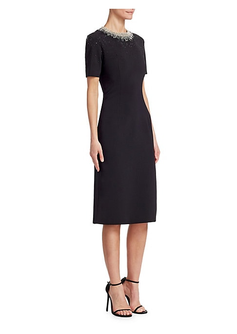 Image of Cut to a feminine silhouette, this understated dress is adorned with ornate beading at the neck and shoulders, for a face-framing effect. Roundneck. Short sleeves. Concealed back zip closure. Lined. Polyester/polyurethane. Sleeves: Silk. Dry clean. Import