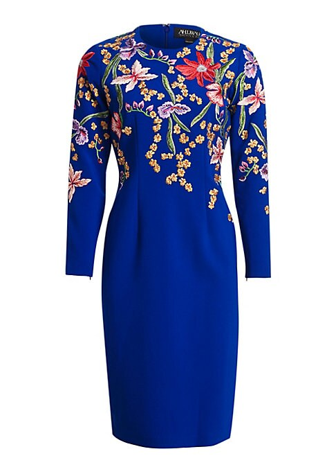 Image of Cut to a streamlined midi silhouette, this stretch-sheath is adorned with colorful floral embroidery, accentuating the bold shoulders. Roundneck. Long sleeves. Concealed back zip closure. Back vented hem. Polyester/polyurethane. Dry clean. Made in Italy.