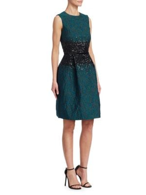 AHLUWALIA Dana Beaded Fit-And-Flare Dress in Teal