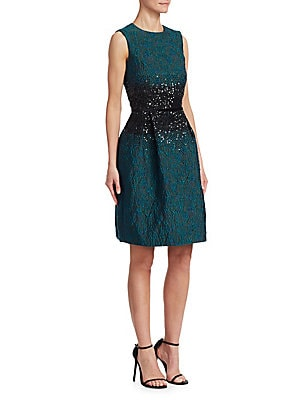 Image of Cut from a lustrous floral jacquard fabric, this pleated cocktail dress features sparkling sequin embroidery at the waist. Roundneck Sleeveless Concealed back zip closure Box pleats Silk lining Polyester/nylon /acetate Dry clean Imported SIZE & FIT About