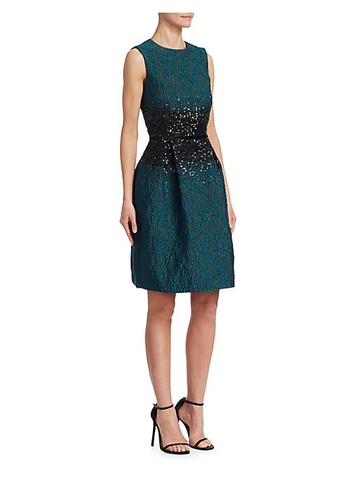 Image of Cut from a lustrous floral jacquard fabric, this pleated cocktail dress features sparkling sequin embroidery at the waist. Roundneck. Sleeveless. Concealed back zip closure. Box pleats. Silk lining. Polyester/nylon /acetate. Dry clean. Imported. SIZE & FI