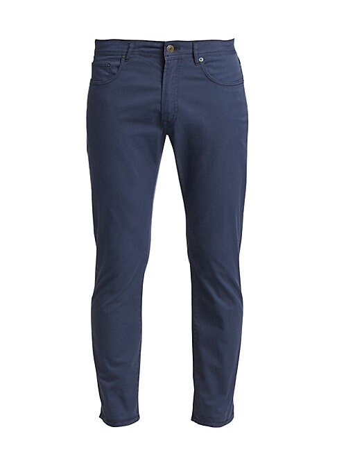 """Image of Cotton twill pants in straight leg silhouette. Five-pocket style. Button closure. Zip fly. Cotton/elastane. Machine wash. Made in Italy. SIZE & FIT. Classic fit. Rise, about 11"""".Inseam, about 34"""".Leg opening, about 15""""."""