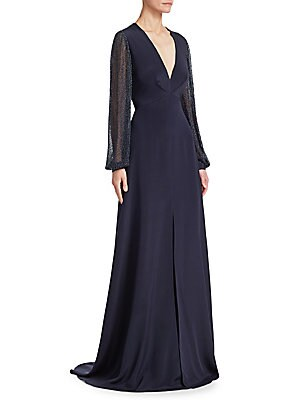 "Image of Cut from lustrous silk, this femininely tailored gown features romantic blouson sleeves with metallic flecks throughout. V-neck Long blouson sleeves Concealed back zip closure Front slit Silk lining Silk Dry clean Imported SIZE & FIT About 53"" from should"