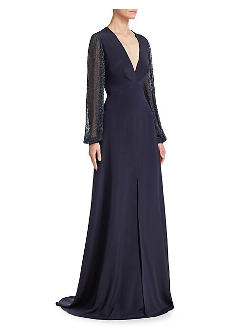 """Image of Cut from lustrous silk, this femininely tailored gown features romantic blouson sleeves with metallic flecks throughout.V-neck. Long blouson sleeves. Concealed back zip closure. Front slit. Silk lining. Silk. Dry clean. Imported. SIZE & FIT. About 53"""" fro"""