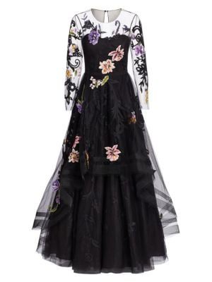AHLUWALIA Bridget Floral-Embroidered Gown in Jet