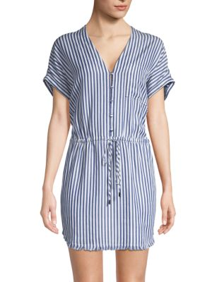 Haidee Striped Drawstring Dress, White Bluebell Stripe