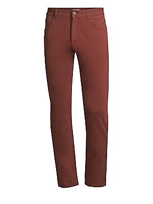 "Image of Casual cotton twill trousers in a straight-leg silhouette. Five-pocket style Zip fly with button closure Cotton/elastane Dry clean Made in Italy SIZE & FIT Straight fit Rise, about 10"" Inseam, about 34"" Leg opening, about 15"". Men Luxury Coll - Contemp Cl"