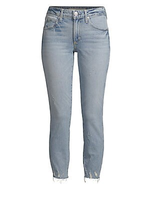 "Image of These skinny jeans come in the classic five-pocket style with a distressed hem Button zip closure Five pocket style Belt hoops Slim leg Rise, about 9"" Inseam, about 26"" Leg opening, about 9"" Cotton/elastane Machine wash Made in USA Model shown is 5'10 (17"