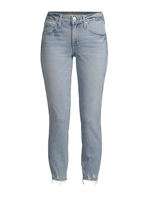"""Image of These skinny jeans come in the classic five-pocket style with a distressed hem. Button zip closure. Five pocket style. Belt hoops. Slim leg. Rise, about 9"""".Inseam, about 26"""".Leg opening, about 9"""".Cotton/elastane. Machine wash. Made in USA. Model shown is"""