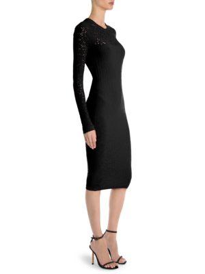 Crewneck Long-Sleeve Tattoo-Knit Body-Con Dress, Black