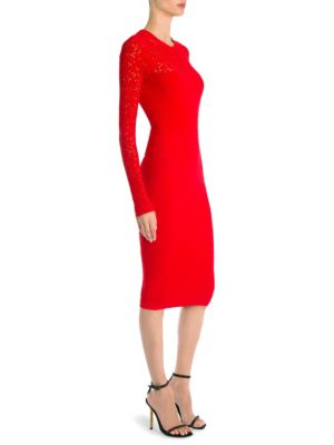 Crewneck Long-Sleeve Tattoo-Knit Body-Con Dress, Deep Red
