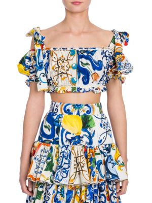Cropped Cold-Shoulder Printed Cotton Top, Multi