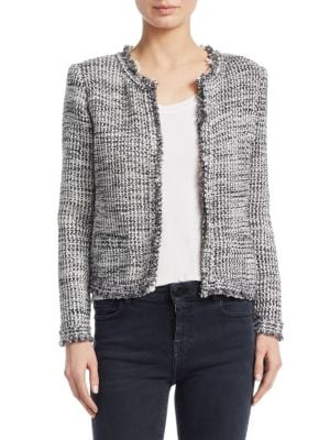 Unplug Open-Front Tweed Jacket, Grey