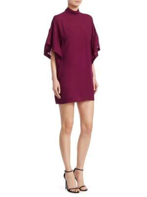 Theifya Cape-Sleeve Mock-Neck Shift Dress, Fuchsia Burgundy