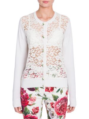 Dolce & Gabbana Long-sleeve Button-front Rose Lace Front Knit Cardigan In White