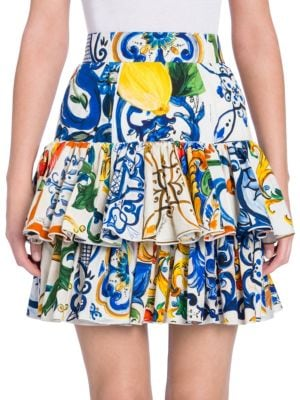 Majolica-Tile-Print Cotton Miniskirt Size 36 It in Blue