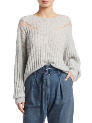 Opera Distressed Knit Pullover in Pearl Grey