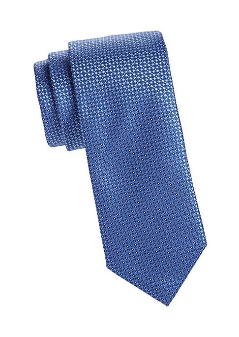 "Image of A tile-inspired print defines this handsome silk tie. Width, about 3"".Silk. Dry clean. Made in Italy."