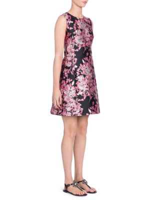Sleeveless Floral-Jacquard A-Line Cocktail Dress in Pink