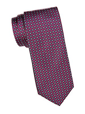"Image of Add graphic appeal to your look with this bold geometric print tie Width, about 3"" Silk Dry clean Made in Italy. Men Luxury Coll - Canali Clothing. Canali. Color: Red."