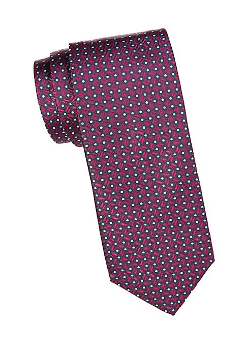 "Image of Add graphic appeal to your look with this bold geometric print tie. Width, about 3"".Silk. Dry clean. Made in Italy."