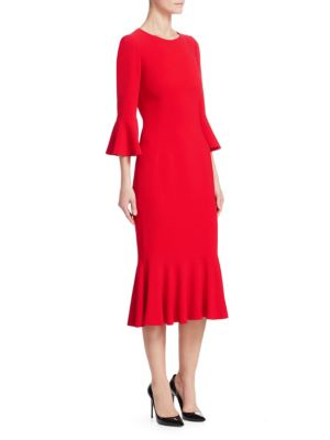DOLCE & GABBANA Ruffled Cady Midi Dress, Red