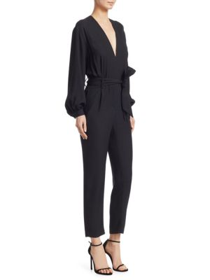 Jesalo Long-Sleeve Belted Jumpsuit in Black