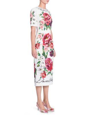 Half-Sleeve Rose & Peony Print L'Amore E' Bellisima Mid-Calf Dress, Ivory Peony