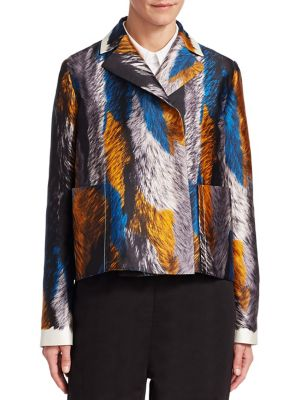 Multicolor Fur-Print Woven Jacket