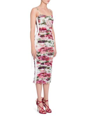 Lace-Up Ruched Floral-Print Cotton And Silk-Blend Tulle Midi Dress, Ivory Peony Print