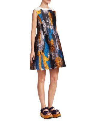 Multicoloured Sleeveless Mini Dress in Blue