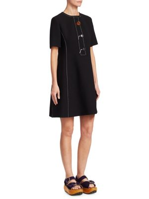 Marni Wools Crepe Wool Button-Front Dress