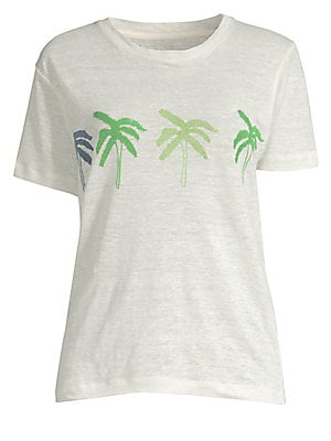 "Image of Linen tee with front palm tree graphic Crewneck Short sleeves Pullover style About 25"" from shoulder to hem Linen Hand wash Imported Model shown is 5'10 (177cm) wearing US size Small. Contemporary Sp - Trend. Banner Day. Color: Bone. Size: 1 (XS)."